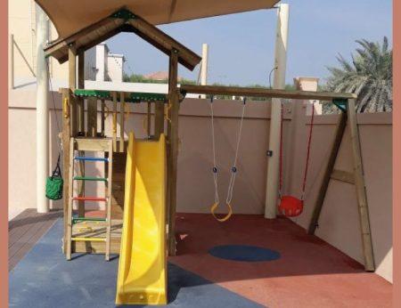 Chalet + Rockwall + Double Swing + Sandpit